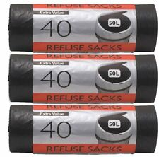 120 X 50L Black Extra Value Refuse Waste Rubbish Bin Liner Bags