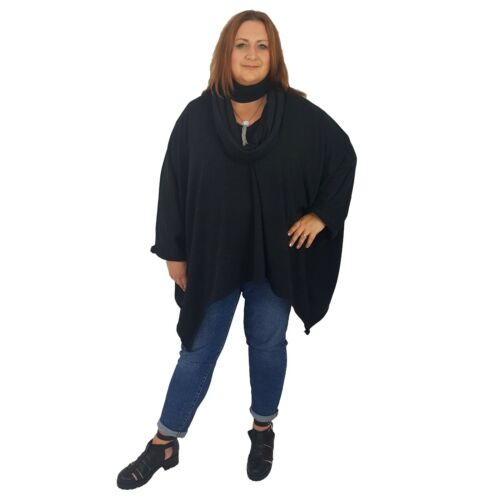 Wolfairy Womens Plus Size Top Lagenlook Tunic Poncho V-neck Scarf Belt Necklace