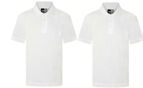 2 x Boys/&Girls White Plain Polo T-Shirts Collar Unisex School Uniform Summer PE