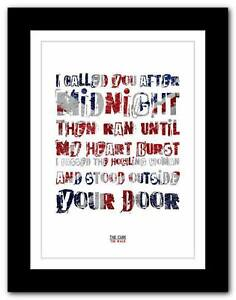 THE CURE The Walk song lyrics typography poster art print ...