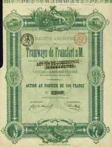 Bien Informé S.a. Du Tramways De Francfort 1880 Frankfurt Main 100 Francs Bruxelles Bernheim-afficher Le Titre D'origine Artisanat Exquis;