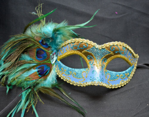 Teal//Gold Women Party Mask Masquerade Mask with Gems /& Peacock Feathers