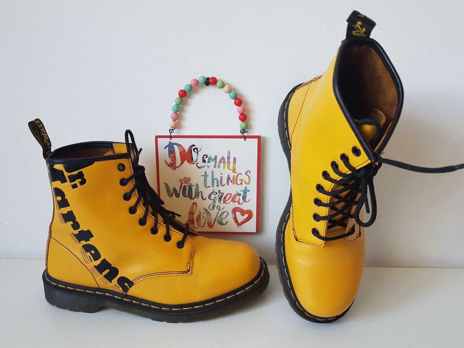Dr Martens logo yellow ankle boots 1460 8 eyelet UK 9 EU 43 US 10
