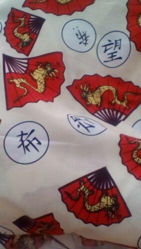 /'Hope/' script with Oriental Fan /& Dragon print on Cream 100/% Cotton Fabric