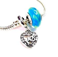 MOM MOTHER'S DAY Charm European Heart Love Aqua .925 MURANO Glass  + POUCH