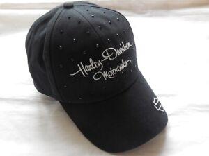 Original-Harley-Davidson-B-amp-S-Black-Rhinestone-Damen-Kappe-Baseball-99537-16VW