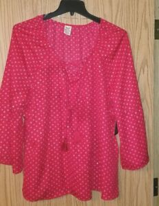 New W Tag Women S Plus Faded Glory Size 1x 16w Red Dressy Blouse Top