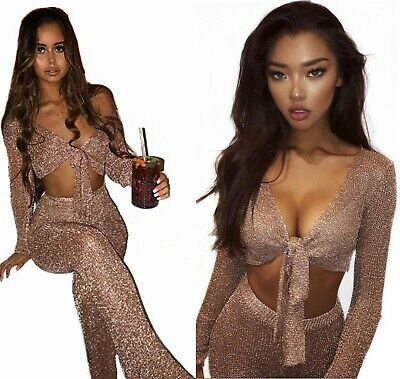 Sonnig Womens High Waist Knit Metallic Mesh Palazzo Party Trousers Top 2 Pcs Set Bralet SorgfäLtige Berechnung Und Strikte Budgetierung
