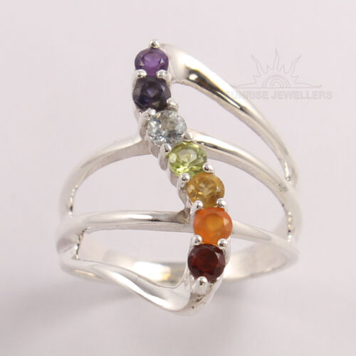925 Silver Healing Hollow Stones 7 Chakra Ring Any Size Natural Reiki Gems