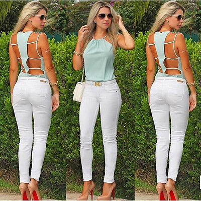 Summer Women's Backless Tank Sleeveless Chiffon Tops Sexy Blouse Spaghetti Strap