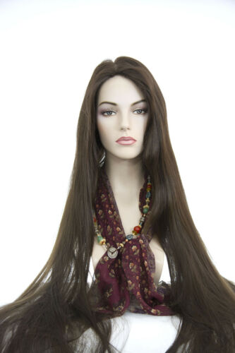 Chestnut Brown Brunette Long Skin Top Straight Wigs