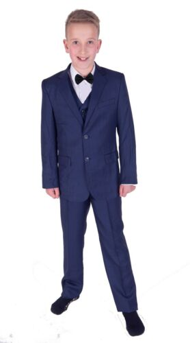 Boys Blue Suits 5 Piece boys Wedding Suit Page Boy Suit Bow Tie 2 to 12 Years