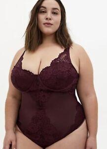 Torrid Burgundy Purple Mesh & Lace Underwire Thong Bodysuit Size 0 12 Large NWT