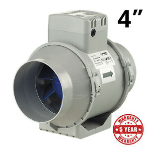 Exhaust Inline Fan 4 100mm Blauberg Bathroom Hydroponic Ventilation 2 Speeds