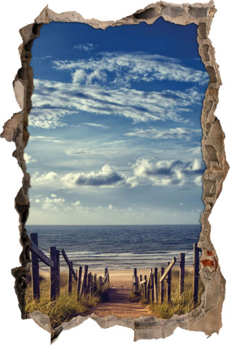 3d-Look percée mural autocollant-sticker Chemin de la plage au bord de la mer