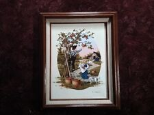 Vintage C. Carson Oil On Canvas Print Amish Boy And Gilr Picking Apples Framed