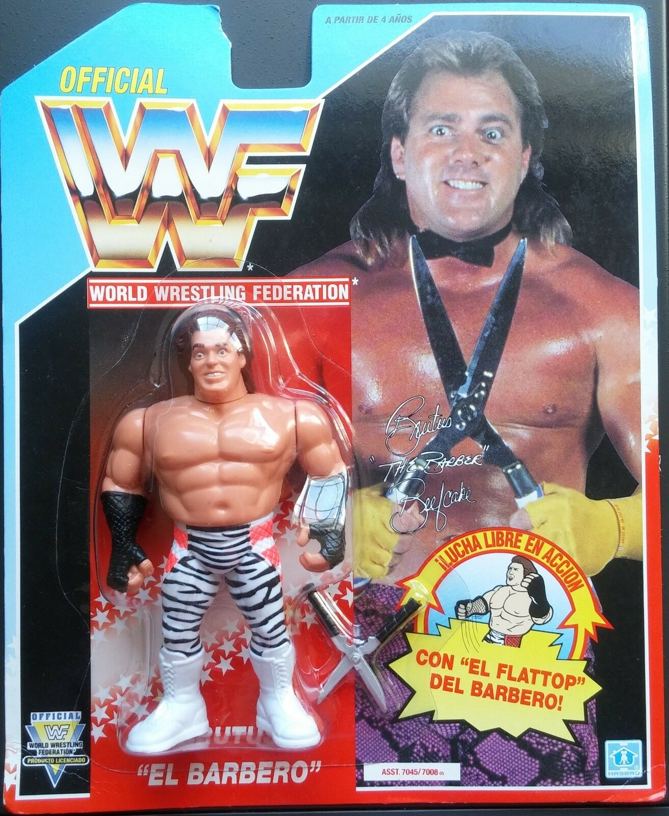Figura WWF Hasbro Brutus  The Barber  Beefcake (Zebra Pants) Series 3 Tarj. blue