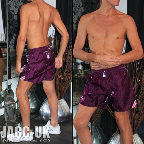 "NEW Mens 29-31/"" M Shiny Wet Look Custom Glanz Satin Nylon Shorts Run IBIZA Gym.7"