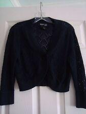 Style & CO Petite Shrug Sweater Bolero ¾ Sleeves Black One Button MP