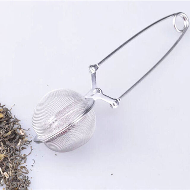 Stainless Steel Spoon Tea Ball Infuser Filter Squeeze Leaves Herb Mesh Strain KF