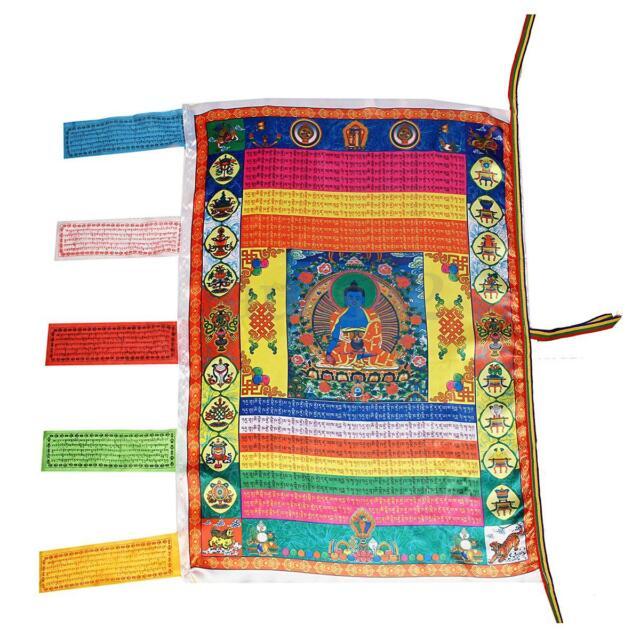 Tibetan Wind Horse Flag Buddhist Pray Prayer Flag For Buddhism Medicine Satin