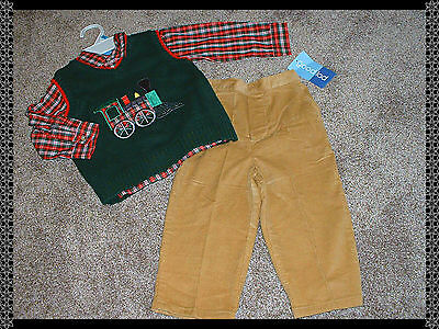 Good Lad Baby Boys Size 24 mos 24M NWT Holiday Train 3pc Outfit Set Clothes NEW