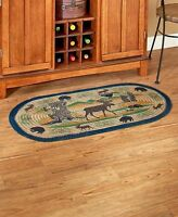 Braided Lodge Accent Rug Cabin Moose Bear Country Kitchen Hallway Home Decor