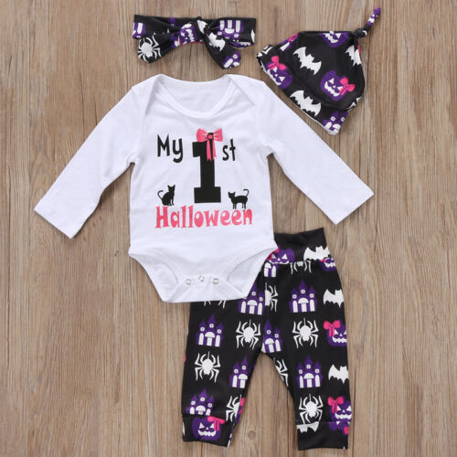 UK Newborn Halloween Baby Girl Clothes Romper Jumpsuit Bodysuit+Pants Outfit Set