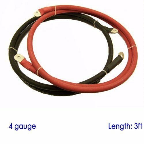 """Battery Cable 3//8/"""" and 5//16/"""" Lugs for Power Inverter Converter 3 FT Red /& Black"""