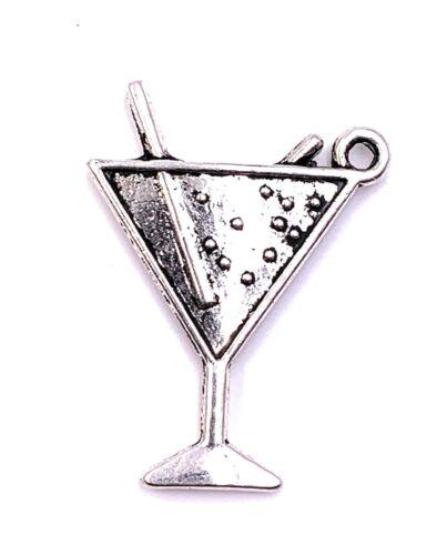 Cocktail Glas mit Strohhalm Charm Anhänger Kettenanhänger Bastelbedarf Schmuck