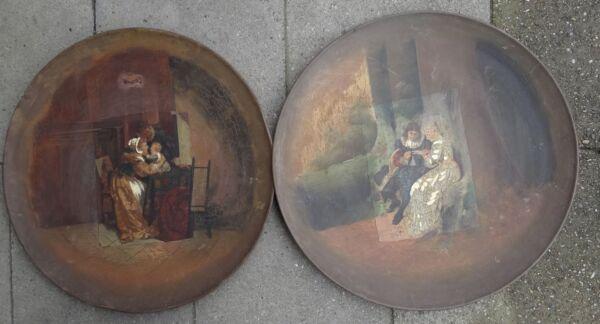 2 Grosse Metal-muro Plato, En El Centro Pinturas, Aceite/leinw (237/10060)-ler,mittig Gemälde, Öl/leinw ( 237/10060) Ver