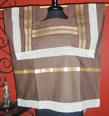 MEXICAN EMBROIDERED DRESS BOHO HUIPIL PEASANT TUNIC M to 3X INCLUDING SCARF