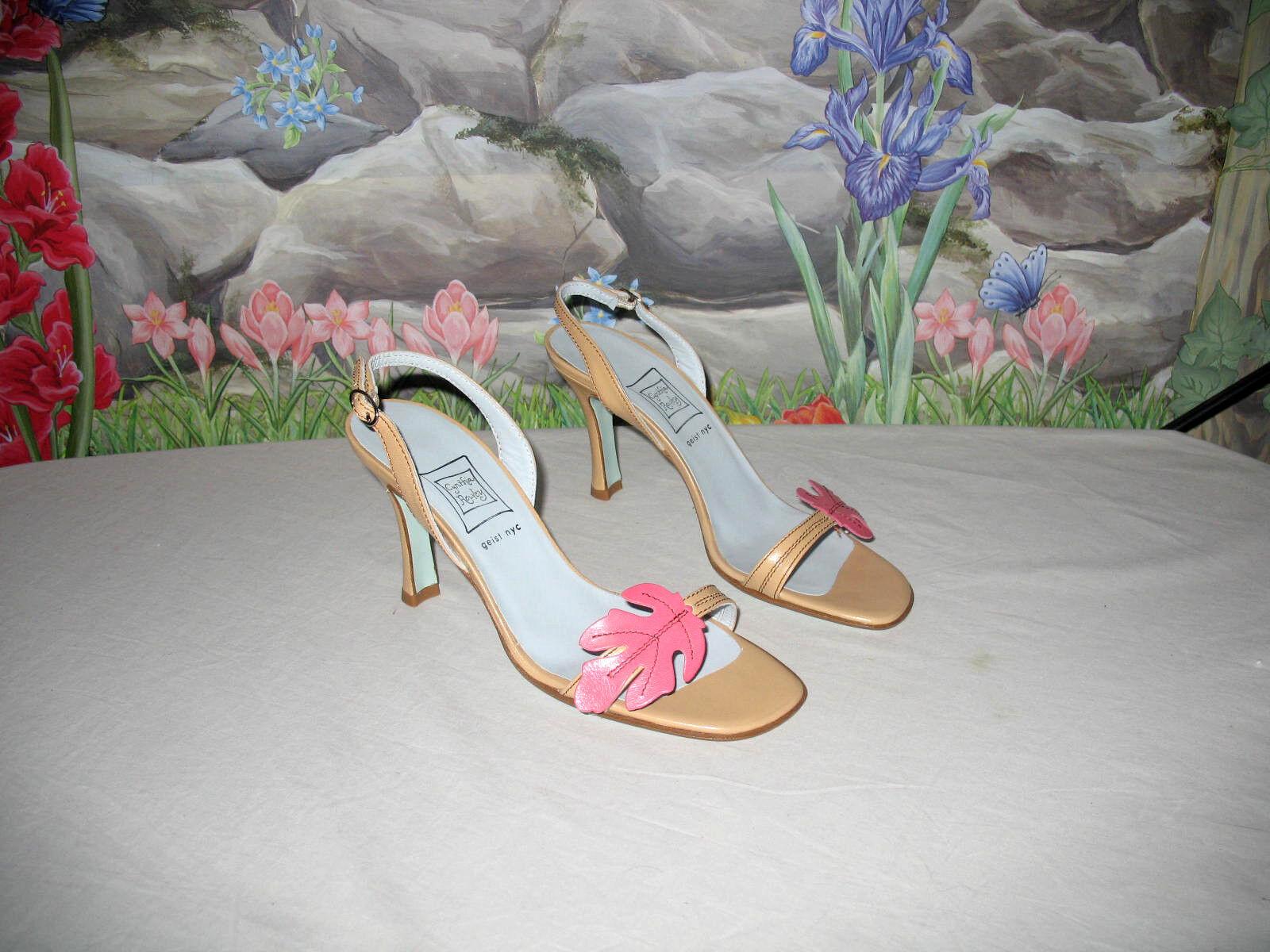 Nuevo Cynthia Rowley tan & rosado Cuero Vestido Vestido Vestido Sandalias 6.5  precios bajos todos los dias