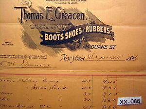 1896-THOMAS-GREACEN-BOOTS-SHOES-RUBBERS-NY-NY-Billhead-Bill-Head