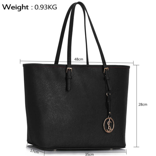 Women/'s Handbags Ladies Large Tote Bag Designer Faux Leather Celebrity Style New