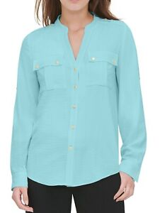 Calvin Klein Womens Blouse Blue Size XL Textured Roll-Tab Button-Front $69- 045