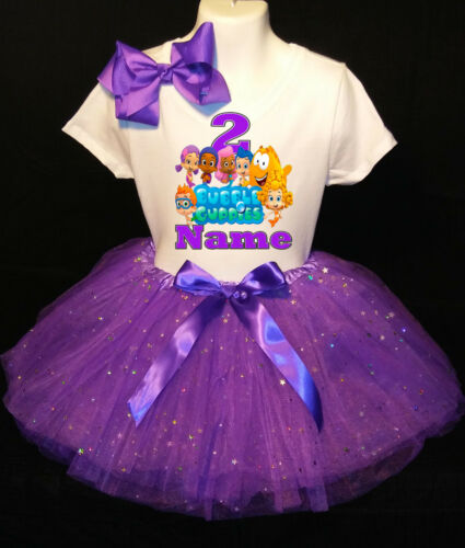 Bubble Guppies *With NAME* 2nd second 2 Birthday Purple Tutu dress Fast Shipping