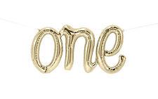 "Giant 30"" ""ONE"" White Gold Script Foil Balloon 30 inch Foil Balloon, Birthday"