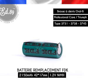 2150mah FDK recambio de batería 42x17mm NiMH oral-b triumph 3731 3738 3745