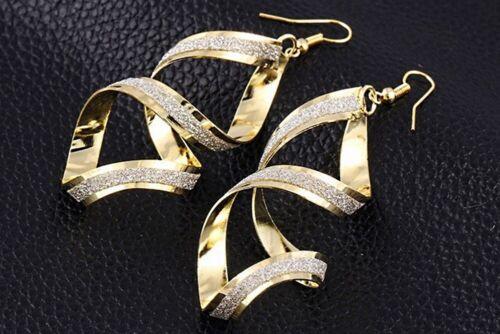 Grandes damas brillo Spiral aretes colgadores conector durchzieher a la moda statement