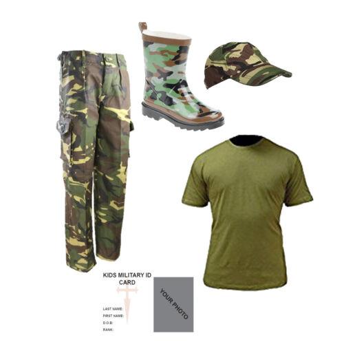 Kids PACK B Mimetico DPM Wellies T-Shirt Cappuccio pantaloni Outfit Esercito Militare Dress Up