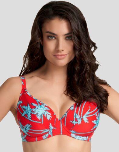 Freya South Pacific Bikini scollato Profondo Top 3552 Rosso Blu Floreale V Taglie Nuovo