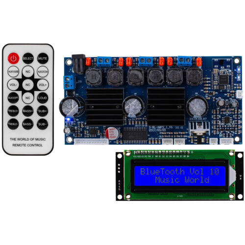 2.1 Amplifier 50W x 50W x 100W with Built-In 3.0 Bluetooth LCD Backlit Screen an