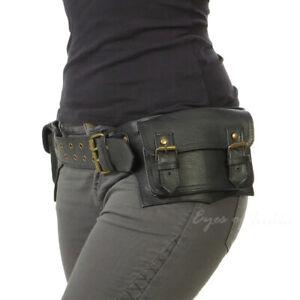 Black Brown Leather Belt Bum Waist Hip Bag Pouch Fanny Pack Utility Pocket Trave