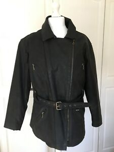 Saki Black Jacket Size Leather Biker Womens Coat 16 L Eu42 100 Uk14 Real wxRZ8Ytxn