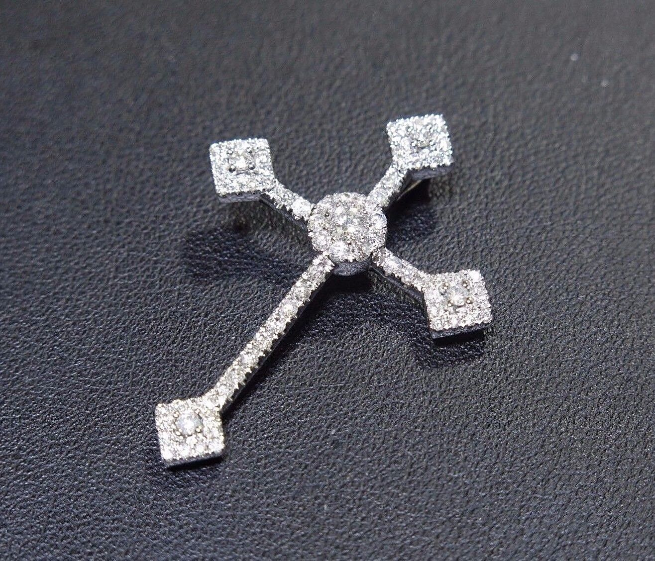 14k White gold 1.45ct White Diamond Prong Set Beautiful Elegant Cross Pendant