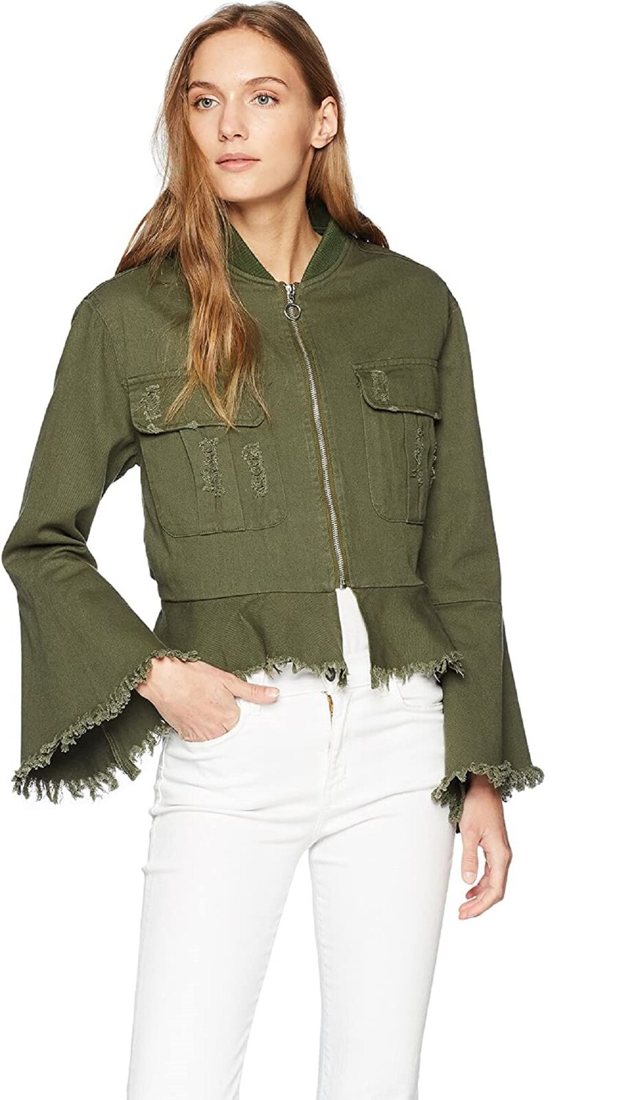 Bagatelle Women's Spring Distressed Bell Sleeve Bomber Jacket, Olive, XS