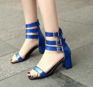 Womens-Plus-Size-Patent-Leather-Buckle-High-Top-Sandals-Peep-Toe-Buckle-Booties