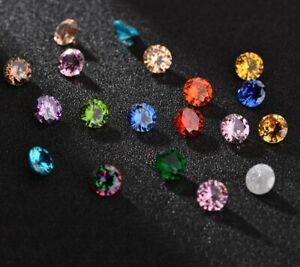 Cubic-Zirconia-Loose-Stones-Round-Brilliant-bead-round-gems-8-mm-2-Stones-5A