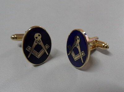 Oval Masonic Cuff-Links. Square & Compass Blue enamel Cufflinks